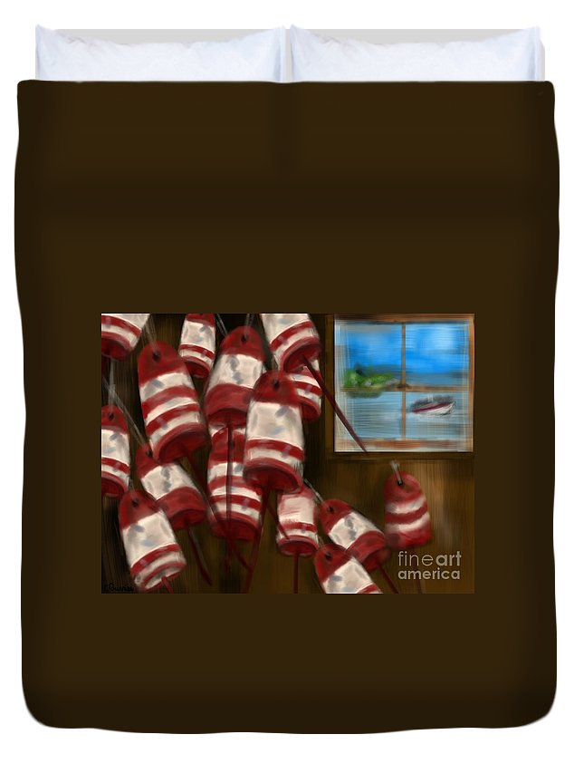 Boating Duvet Cover featuring the digital art Buoys With A View   by Christine Fournier