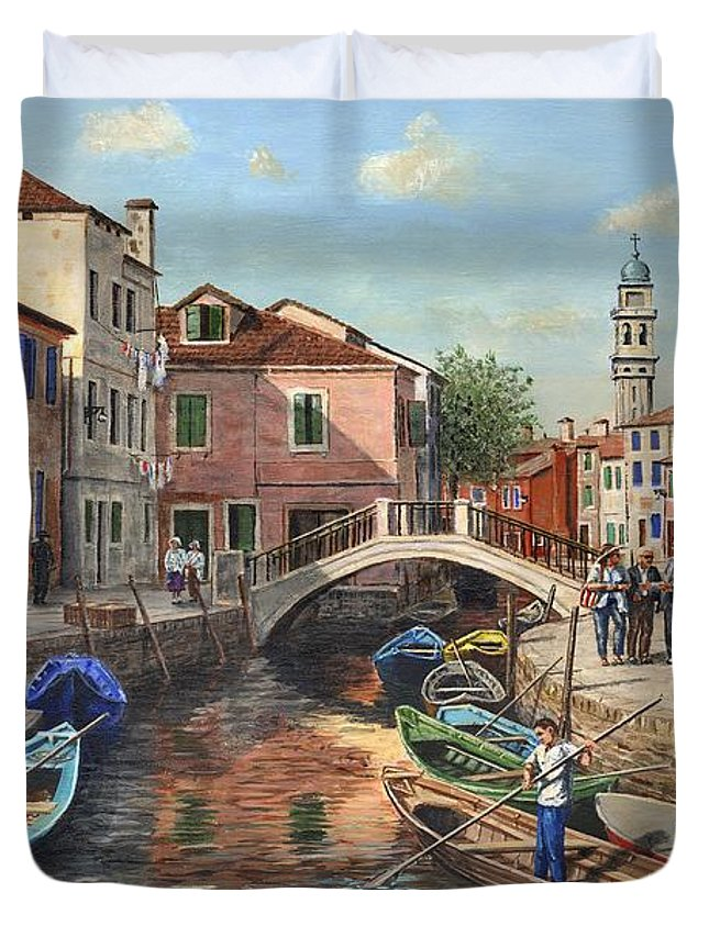 Landscape Duvet Cover featuring the painting Burano Canal Venice by Richard Harpum