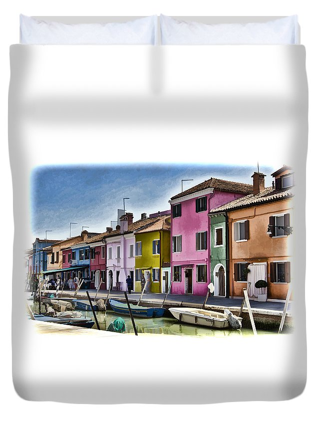 Burano Duvet Cover featuring the photograph Burano Italy - Colorful Homes by Jon Berghoff