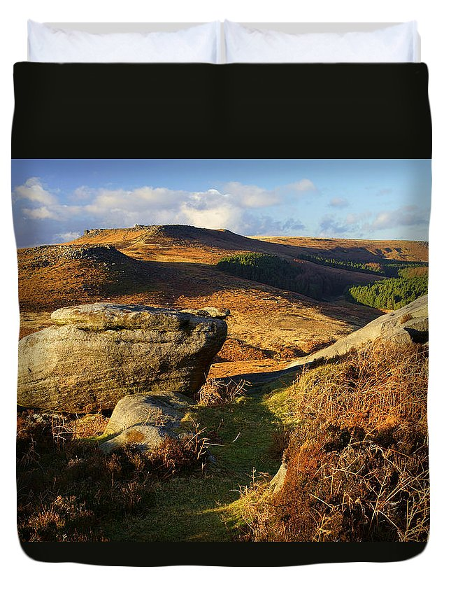 Landscape Duvet Cover featuring the photograph Burbage Rocks by Darren Galpin