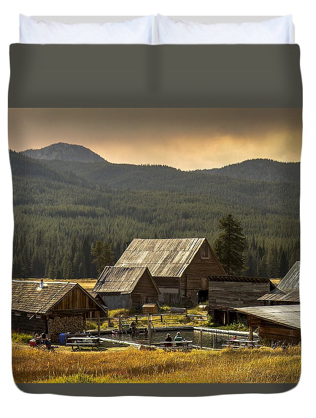 Hot Springs Duvet Cover featuring the photograph Burgdorf Hot Springs In Idaho by For Ninety One Days