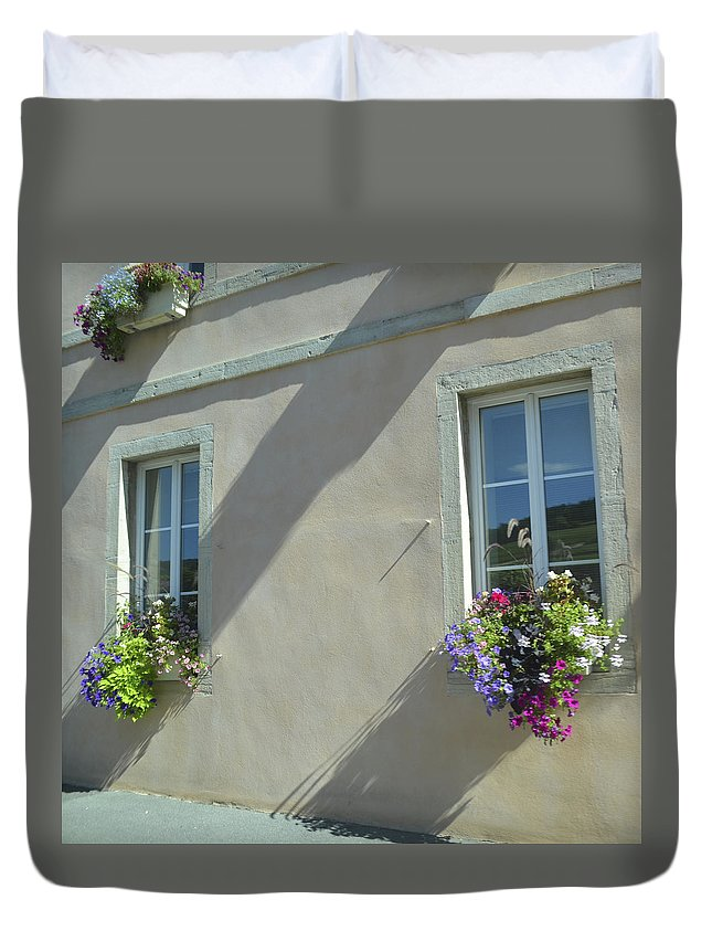 France Duvet Cover featuring the photograph Flower Baskets by Cheryl Miller