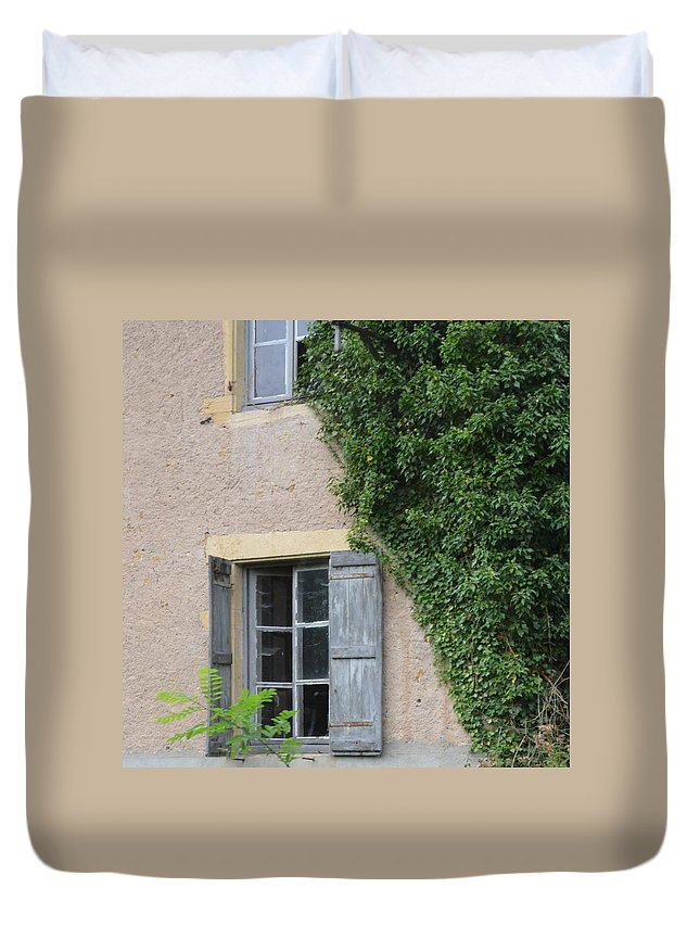 Burgundy Duvet Cover featuring the photograph Wood Shutters With Vine by Cheryl Miller