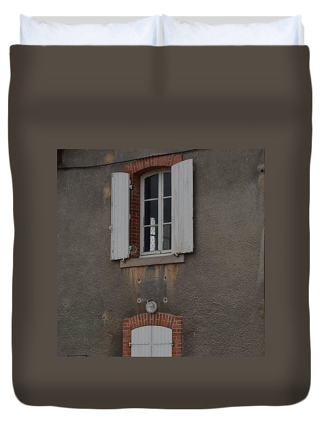 Burgundy Duvet Cover featuring the photograph By The Canal by Cheryl Miller