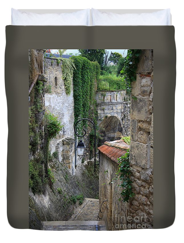 Alley Duvet Cover featuring the photograph Burgundy Alley by Christiane Schulze Art And Photography