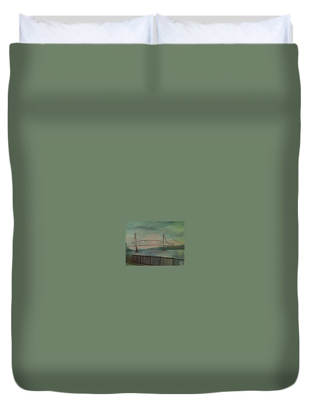 Bridge Duvet Cover featuring the painting Burlington Bristol Bridge by Sheila Mashaw