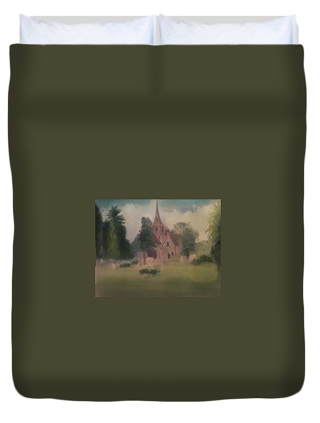 Church Duvet Cover featuring the painting Burlington NJ Church by Sheila Mashaw