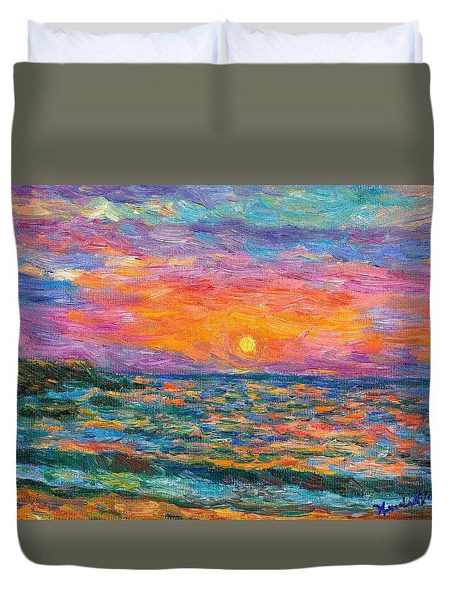 Ocean Duvet Cover featuring the painting Burning Shore by Kendall Kessler