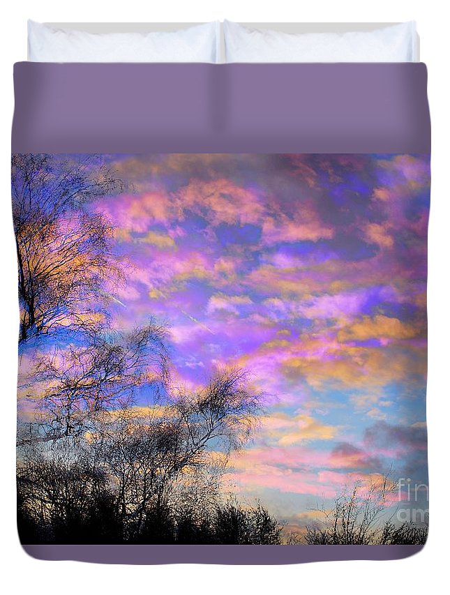 Sunset Duvet Cover featuring the photograph Burning Sky by Brian Raggatt