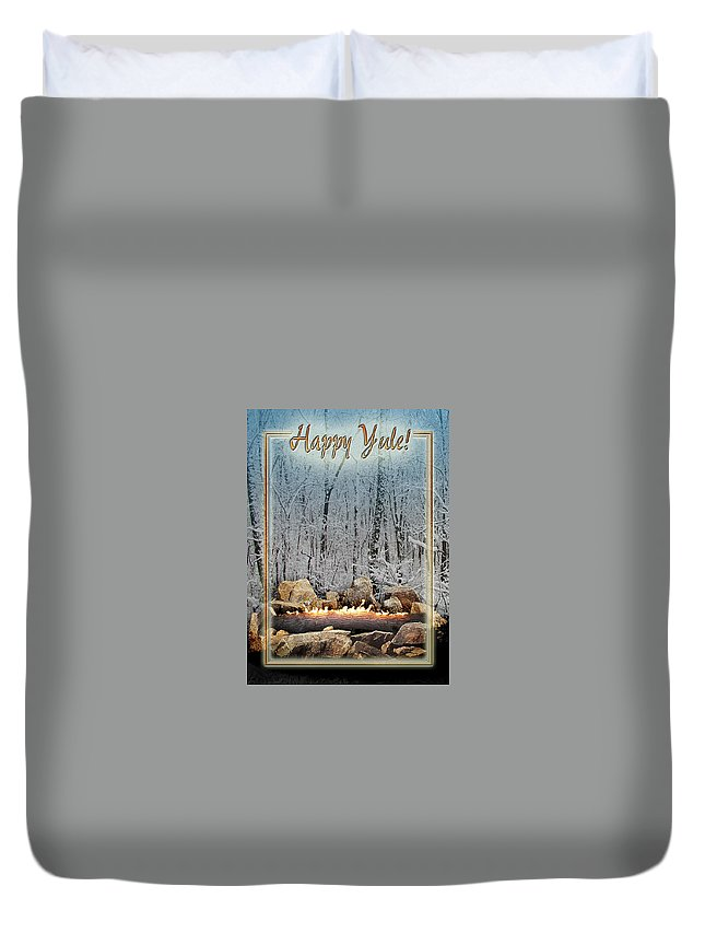 Yule Duvet Cover featuring the digital art Burning Yule Log by Melissa A Benson