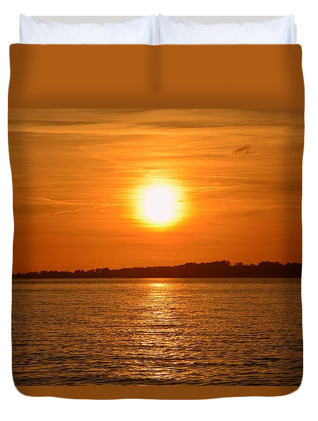 Sunsets Duvet Cover featuring the photograph Burnt Orange by Lisa Wooten