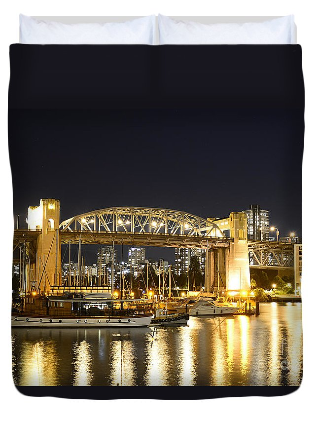 Burrard Bridge Duvet Cover featuring the photograph Burrard Bridge Vancouver by Sabine Edrissi
