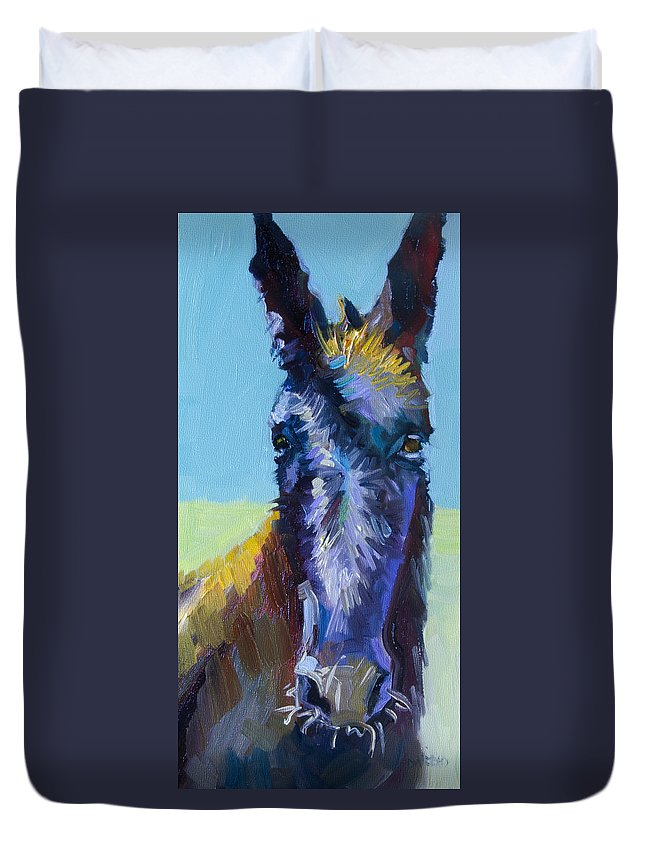Burro Duvet Cover featuring the painting Burro Stare by Diane Whitehead