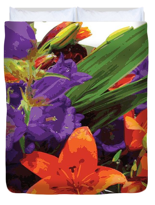 Abstract Duvet Cover featuring the digital art Burst Of Spring by James Kramer