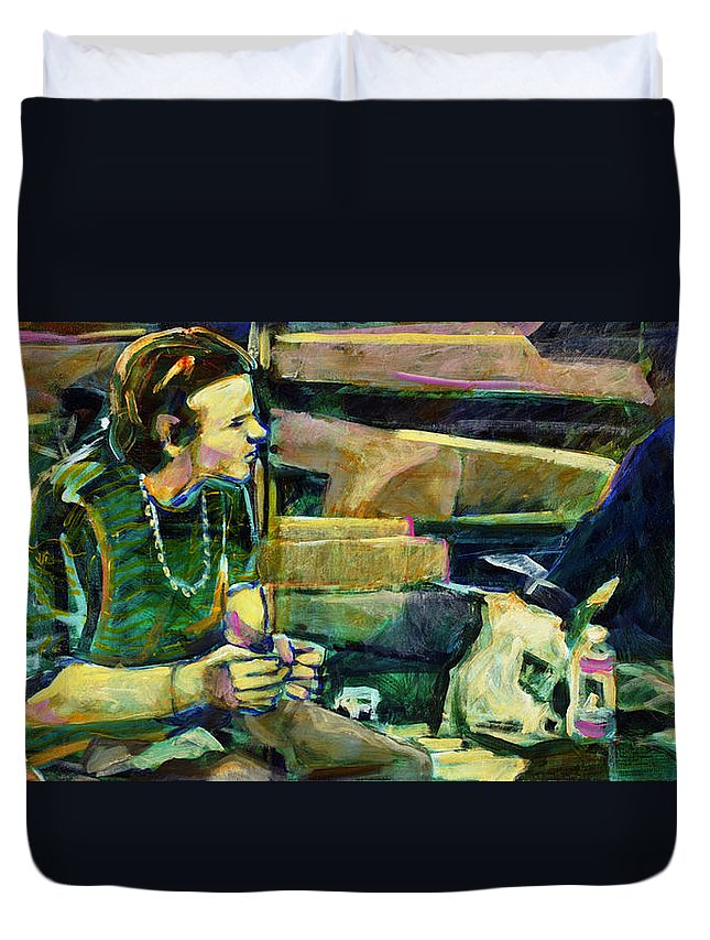 Faye Cummings Duvet Cover featuring the painting Bus Stop Dining by Faye Cummings