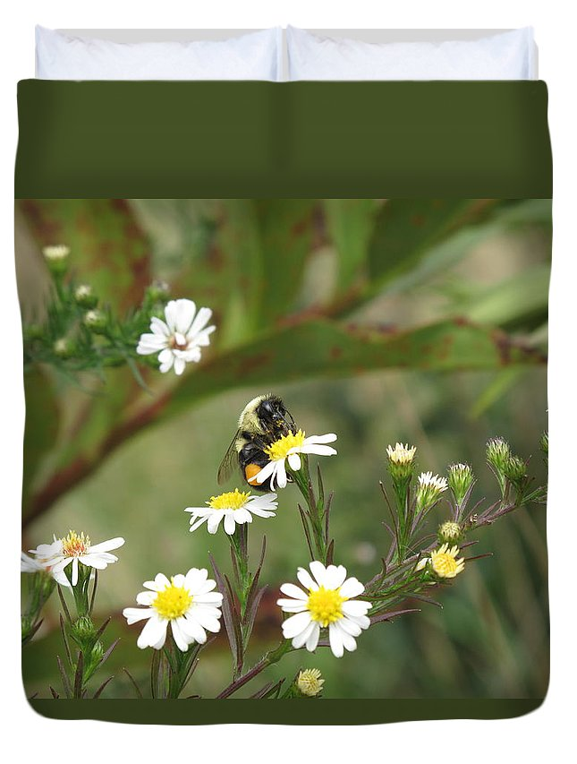 Bee Duvet Cover featuring the photograph Busy Bee by Barbara McDevitt