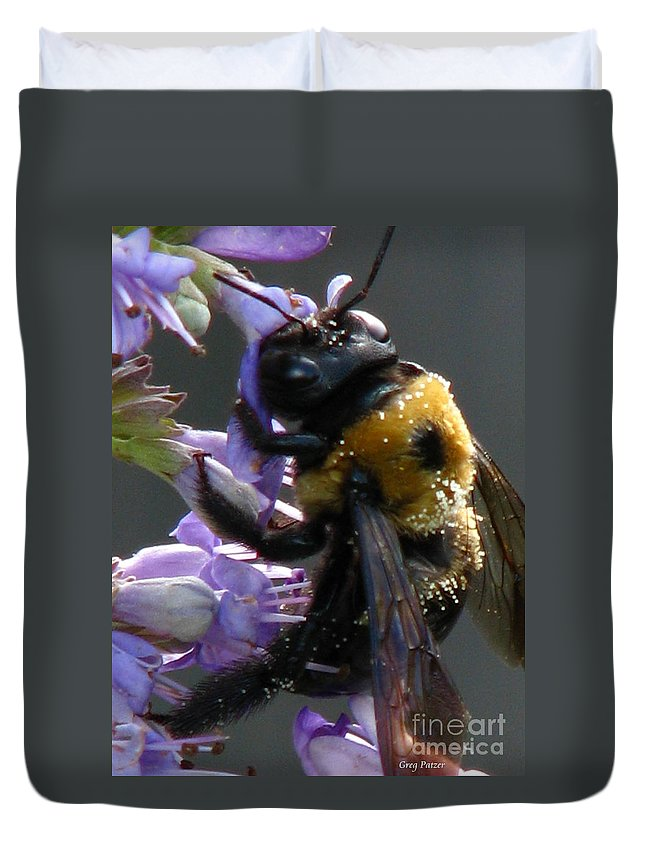 Patzer Duvet Cover featuring the photograph Busy Bee by Greg Patzer