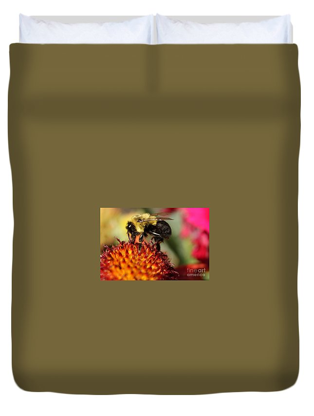 Bee Duvet Cover featuring the photograph Busy Bee by Janice Byer