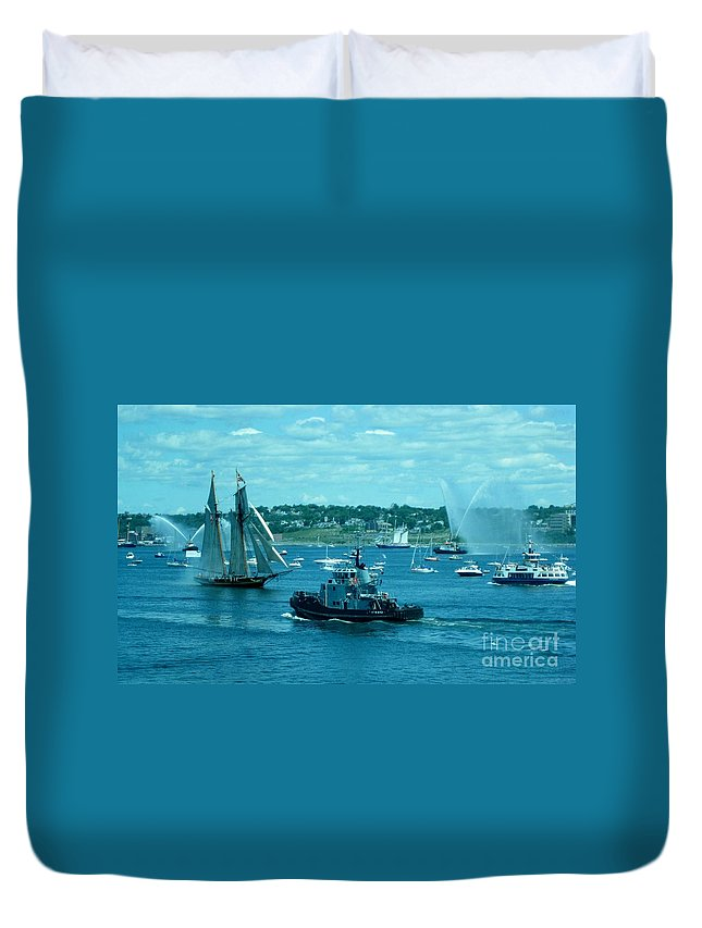 Busy Halifax Harbor During The Parade Of Sails Duvet Cover featuring the photograph Busy Halifax Harbor During The Parade Of Sails by John Malone