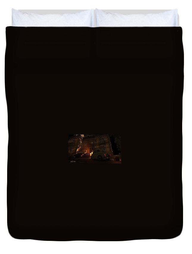 Hotel California Duvet Cover featuring the digital art But You Can Never Leave by Kylie Sabra