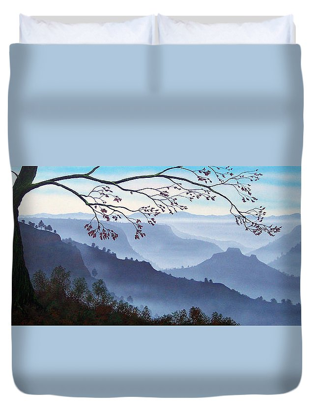 Mural Duvet Cover featuring the painting Butte Creek Canyon Mural by Frank Wilson