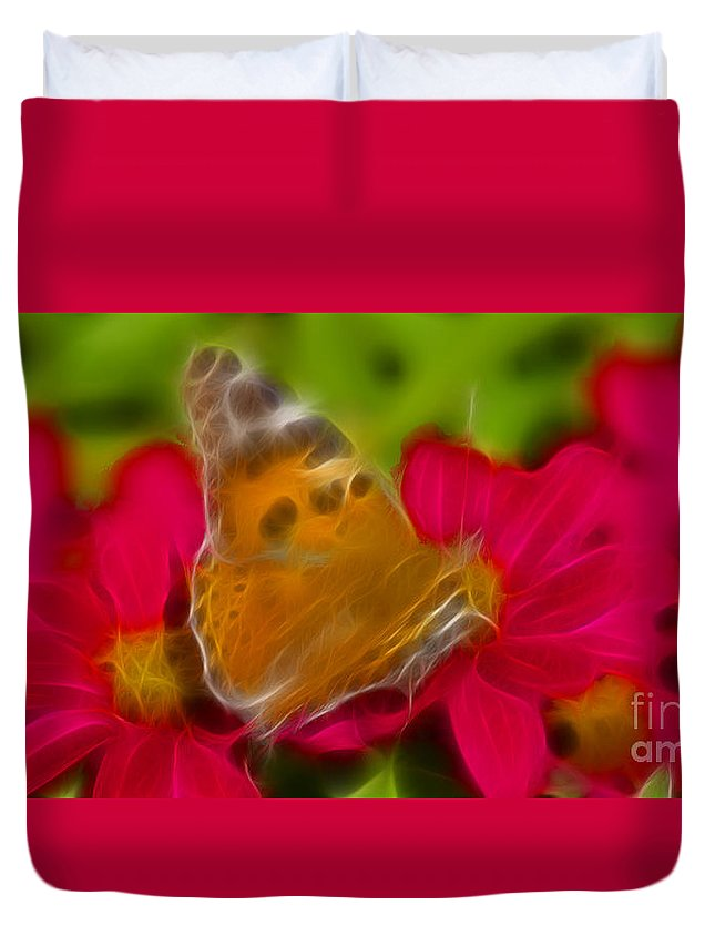 Butterfly Duvet Cover featuring the photograph Butterfly-5416-fractal by Gary Gingrich Galleries