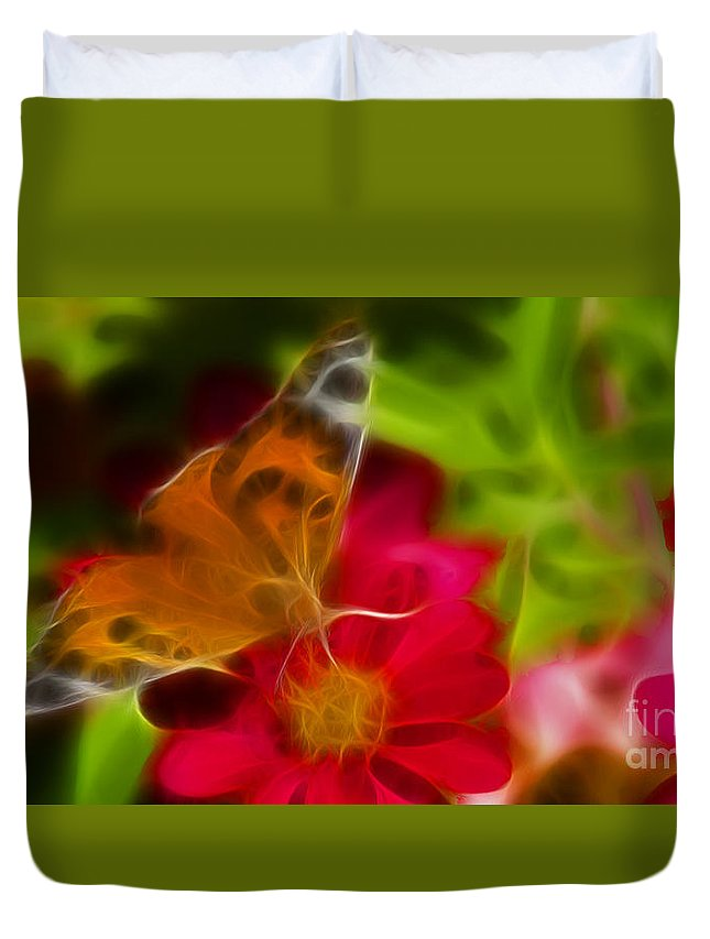 Butterfly Duvet Cover featuring the photograph Butterfly-5430-fractal by Gary Gingrich Galleries