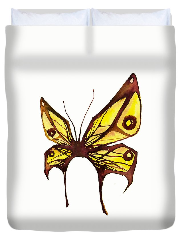 Butterfly Duvet Cover featuring the drawing Butterfly by Daniel P Cronin