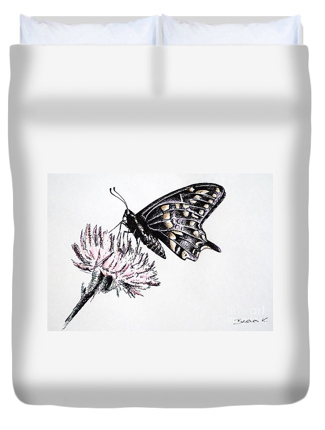 Butterfly Duvet Cover featuring the drawing Butterfly by Katharina Filus