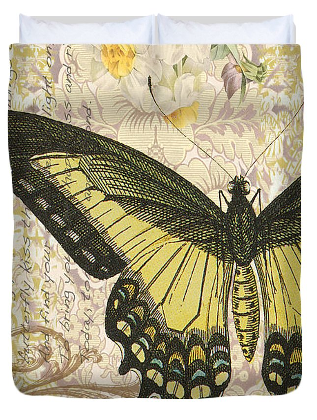 Butterfly Duvet Cover featuring the digital art Butterfly Kisses-c by Jean Plout