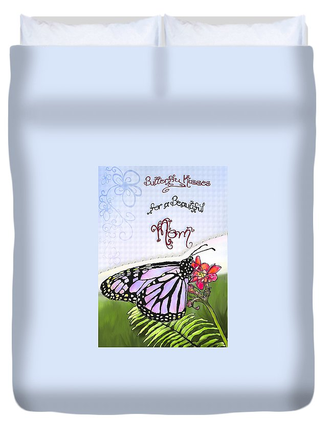 Mothers Day Cards Duvet Cover featuring the painting Butterfly Kisses by Susan Kinney