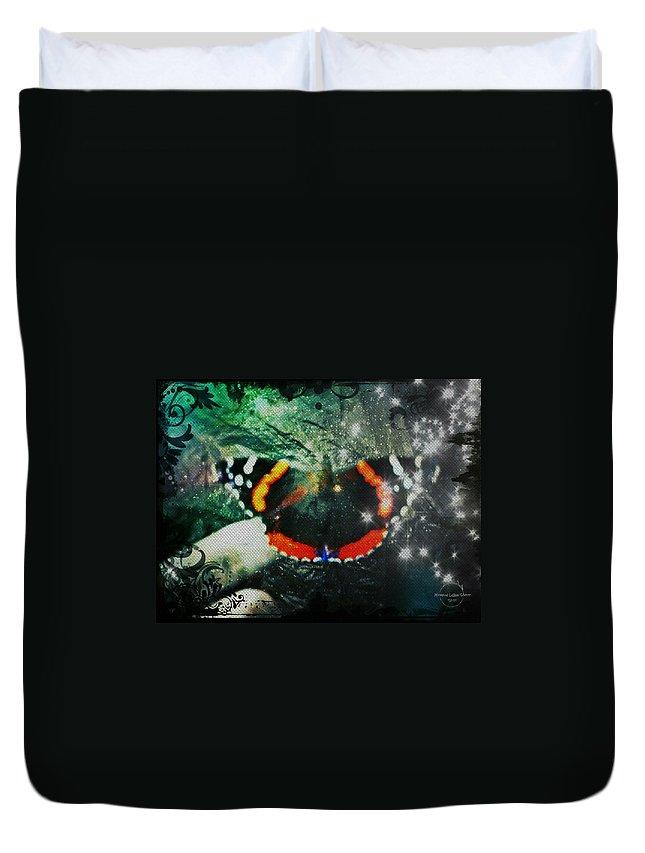 Butterfly Duvet Cover featuring the digital art Butterfly Magick by Absinthe Art By Michelle LeAnn Scott