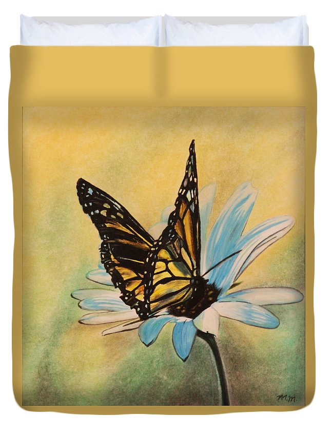 Butterly Duvet Cover featuring the drawing Butterfly On Flower by Michelle Miron-Rebbe