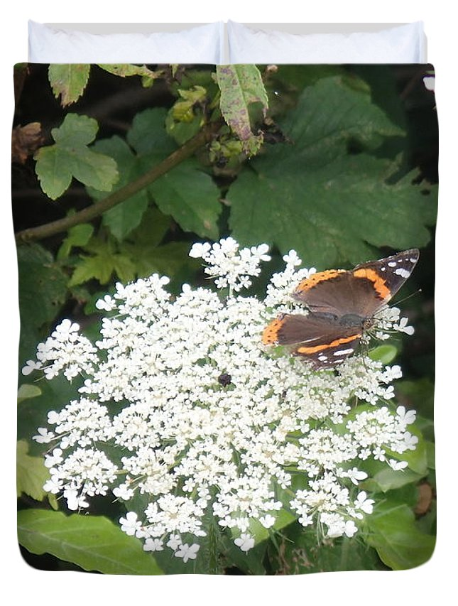 Butterfly Duvet Cover featuring the photograph Butterfly On Lace by Robert Nickologianis