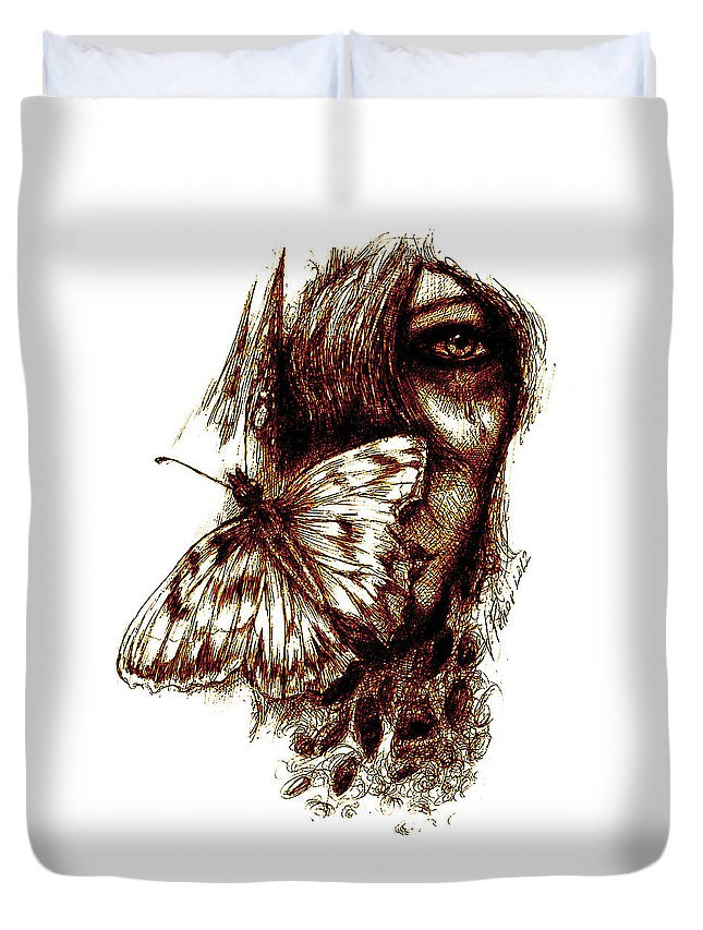 Butterfly Duvet Cover featuring the drawing Butterfly by Vladimir Petrov
