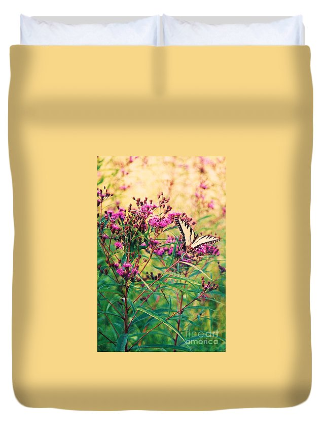 Floral Duvet Cover featuring the painting Butterfly Wildflower by Eric Schiabor