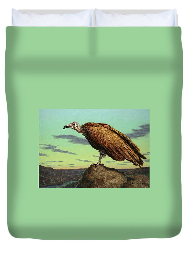 Buzzard Duvet Cover featuring the painting Buzzard Rock by James W Johnson