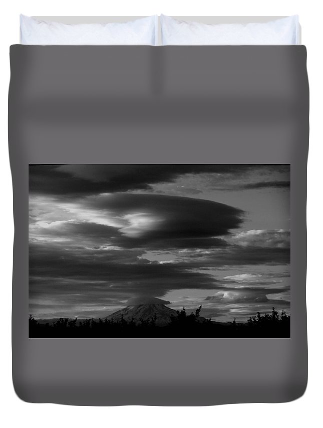 Mt Adams Duvet Cover featuring the photograph Bw Clouds Over Mt Adams by Jeff Swan
