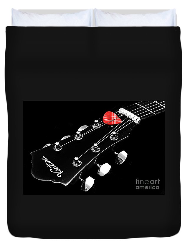 Andee Design Guitar Duvet Cover featuring the photograph Bw Head Stock With Red Pick by Andee Design