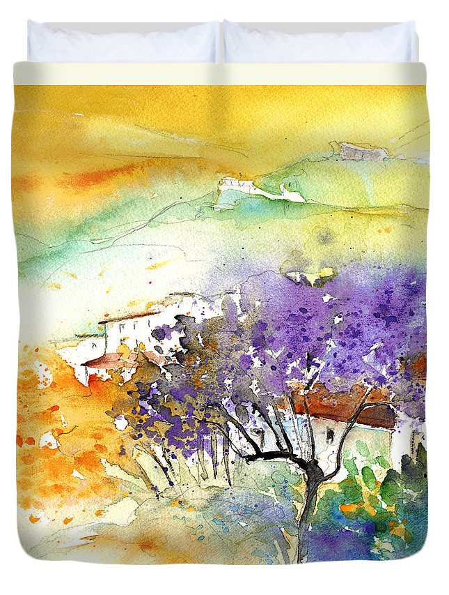 Watercolour Duvet Cover featuring the painting By Teruel Spain 01 by Miki De Goodaboom