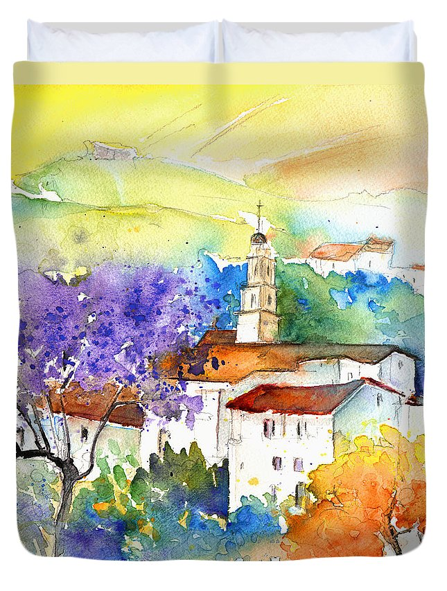 Travel Duvet Cover featuring the painting By Teruel Spain 02 by Miki De Goodaboom