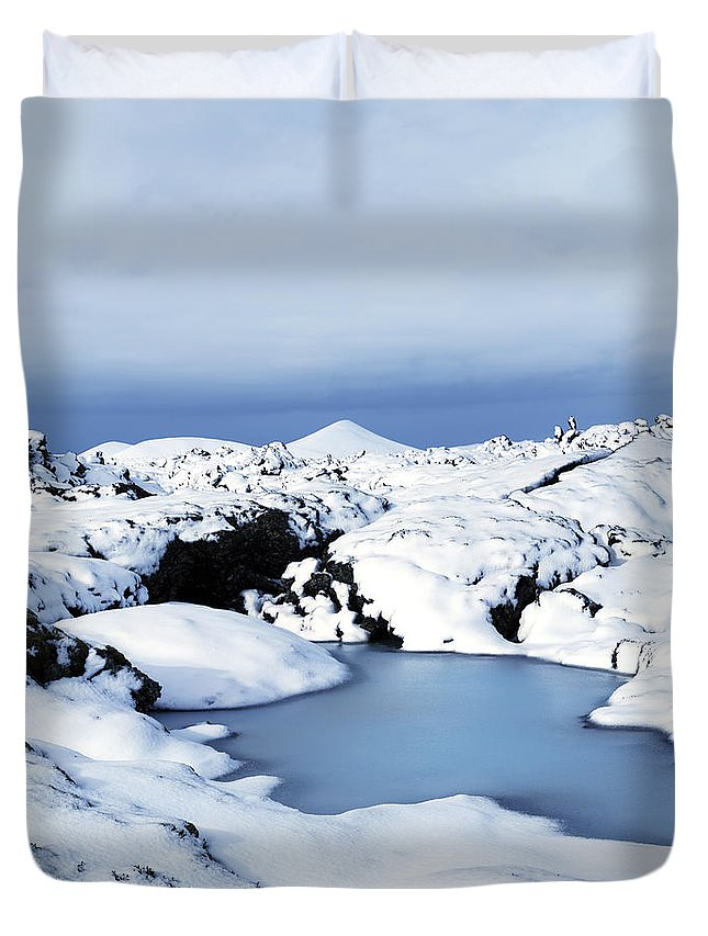 Agusta Gudrun Olafsdottir Duvet Cover featuring the photograph By The Blue Lagoon In Iceland by Agusta Gudrun Olafsdottir