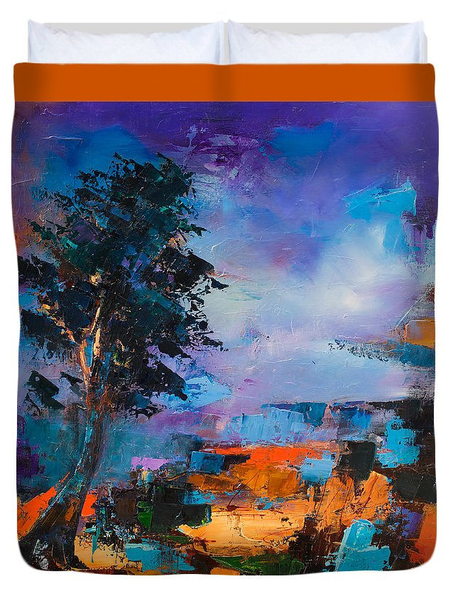 Elise Palmigiani Duvet Cover featuring the painting By The Canyon by Elise Palmigiani