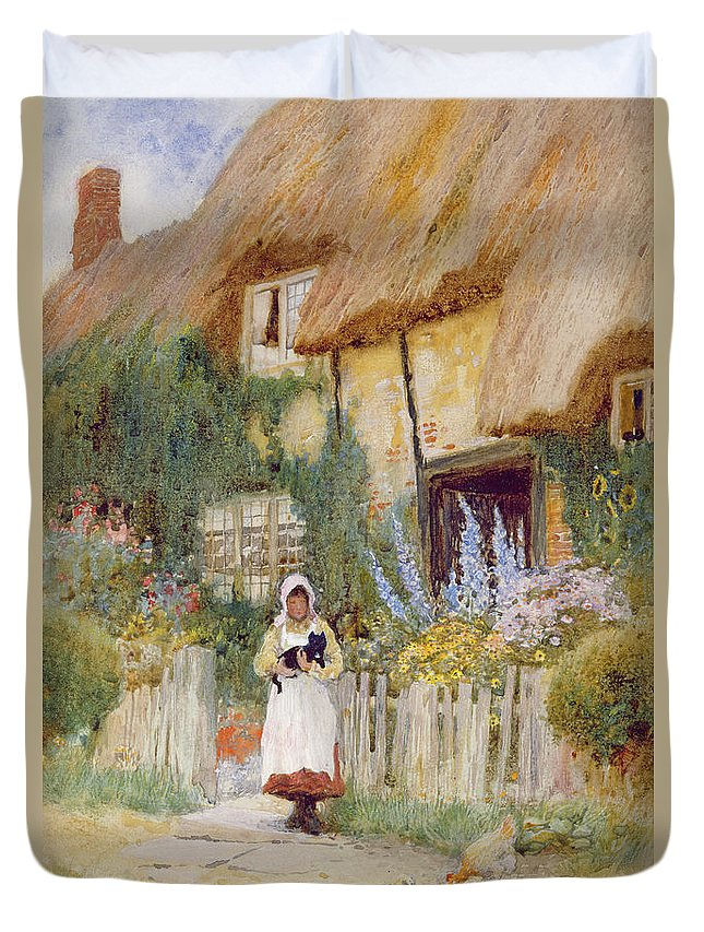 Thatch; Thatched; Cottage; Rural; Country; Countryside; Female; Cat; Chicken; Chicks; Fence; Garden; Flowers; Foxgloves; Fence; Bonnet; Pinafore; Idyllic; Girl Duvet Cover featuring the painting By The Cottage Gate by Arthur Claude Strachan