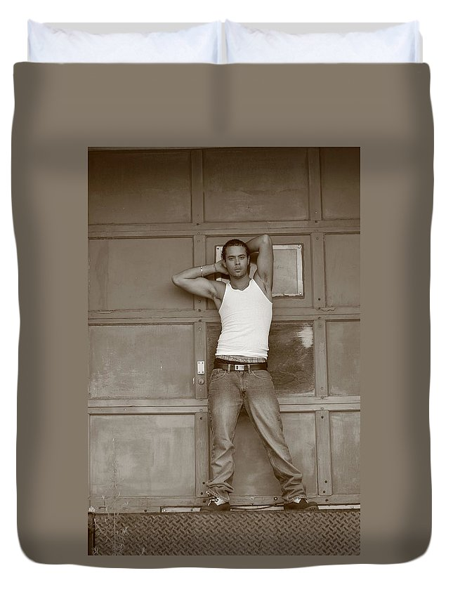 Sepia Duvet Cover featuring the photograph By The Garage by Jes Fritze