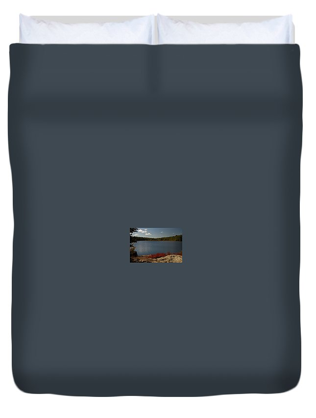 Sunny Day Duvet Cover featuring the photograph By The Lake by Kathleen Odenthal