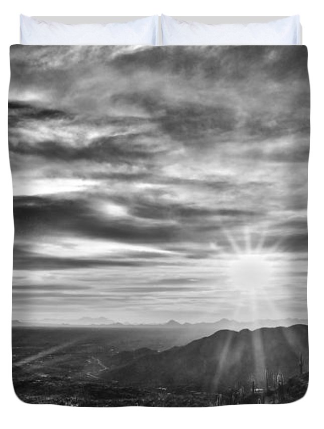 Sunset Duvet Cover featuring the photograph By The Light Of God by Patrick Moore