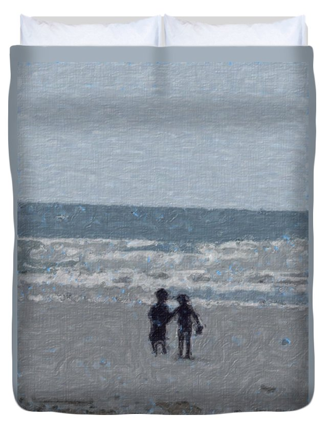 Fun Duvet Cover featuring the painting By The Ocean by Sergey Bezhinets