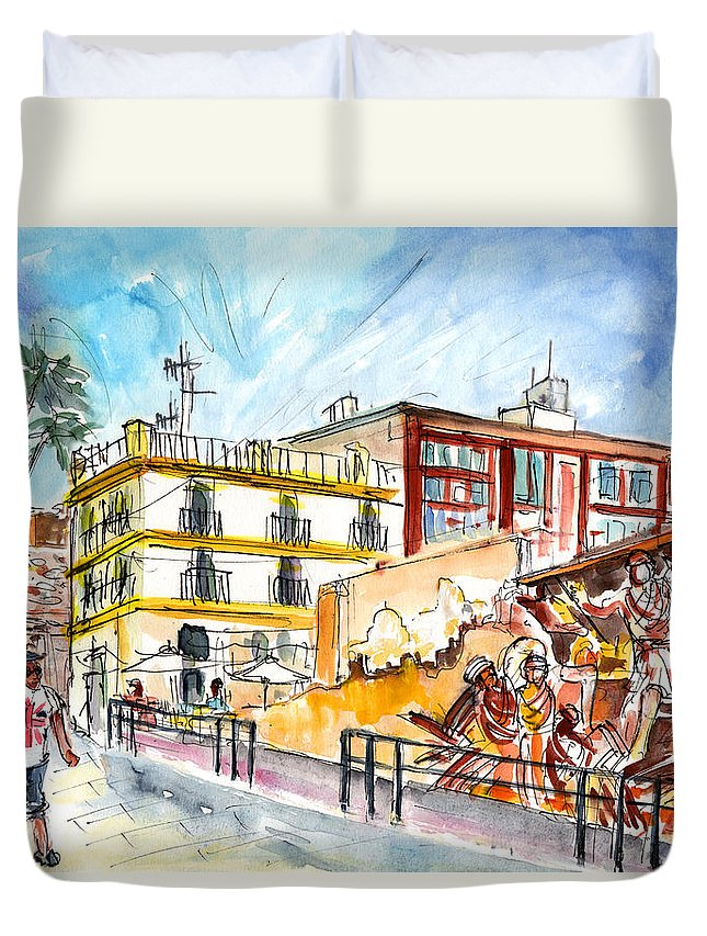 Travel Duvet Cover featuring the painting By The Old Cathedral In Cartagena 02 by Miki De Goodaboom