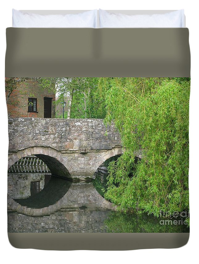 England Duvet Cover featuring the photograph By The Old Mill Stream by Ann Horn